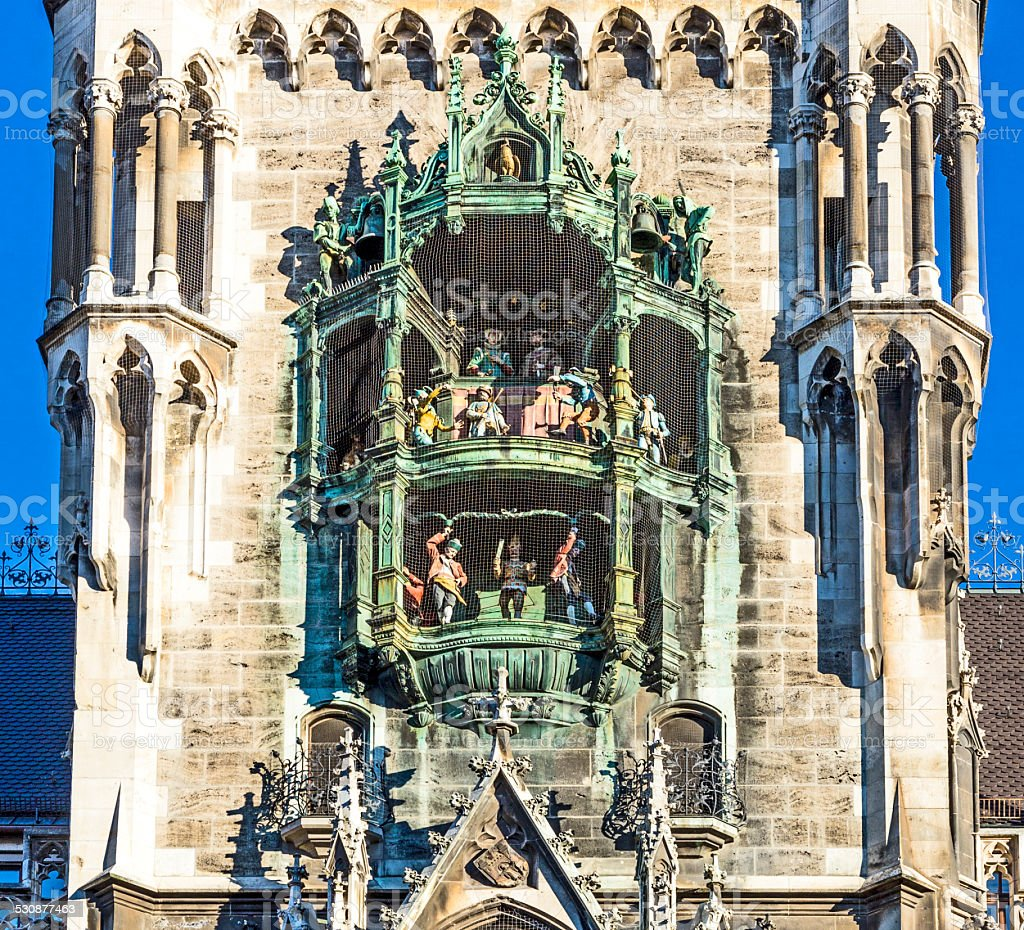 chimes in munich city hall and facade stock photo