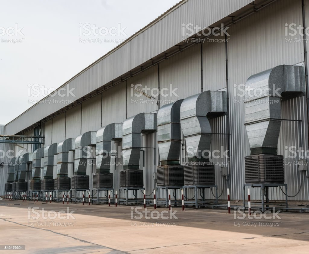 Chimney and ventilation Of an industrial plant stock photo