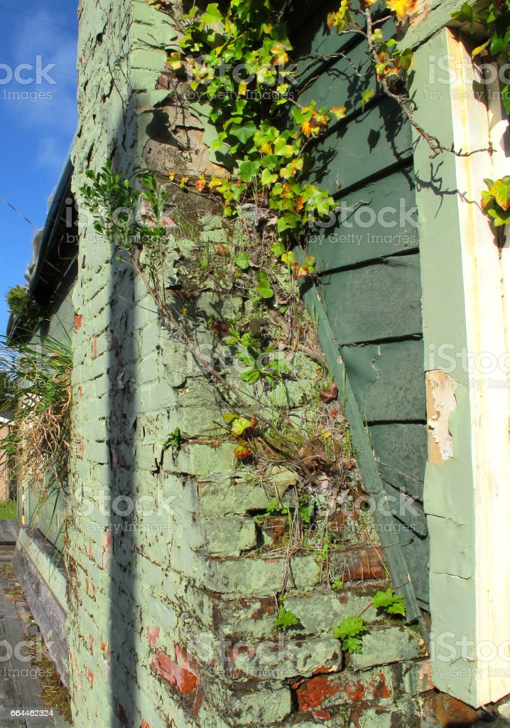 Chimney and wall stock photo
