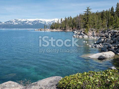 Looking north at Chimney Beach, on the east shore of Lake Tahoe, in Nevada.