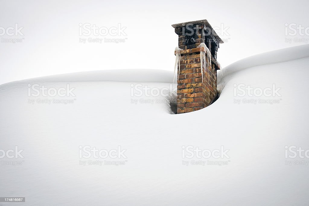 Chimney Caught in Ice and Snow Slovenia royalty-free stock photo