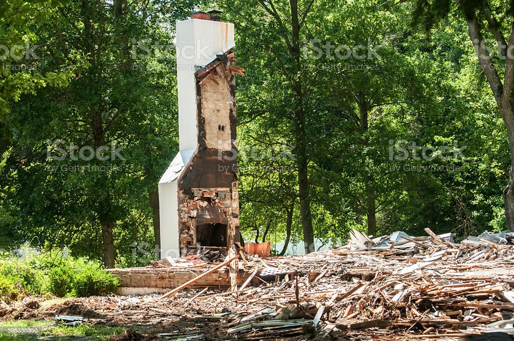 Chimney of destroyed house royalty-free stock photo