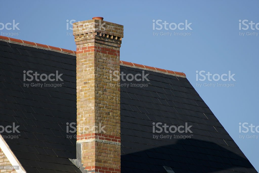 Chimney on Tall modern house royalty-free stock photo