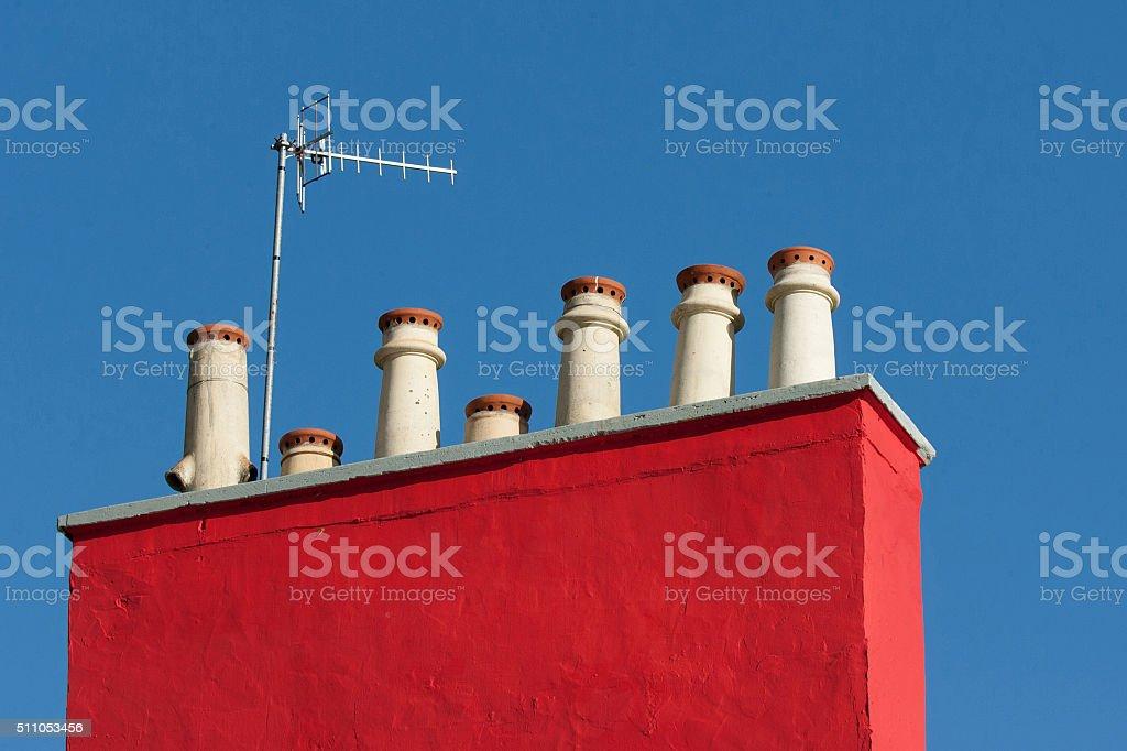 chimney pots stock photo