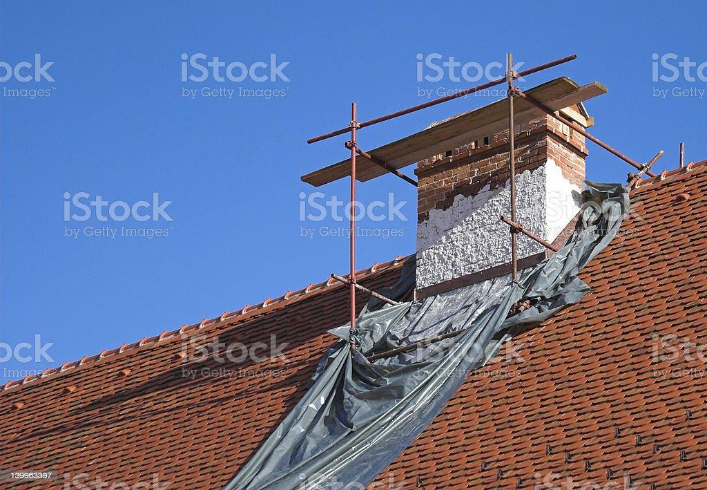 Chimney repair stock photo