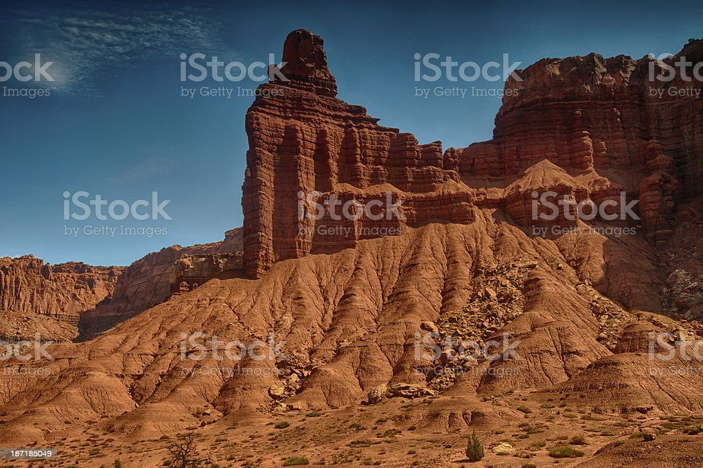 Chimney Rock at Capital Reef National Park stock photo