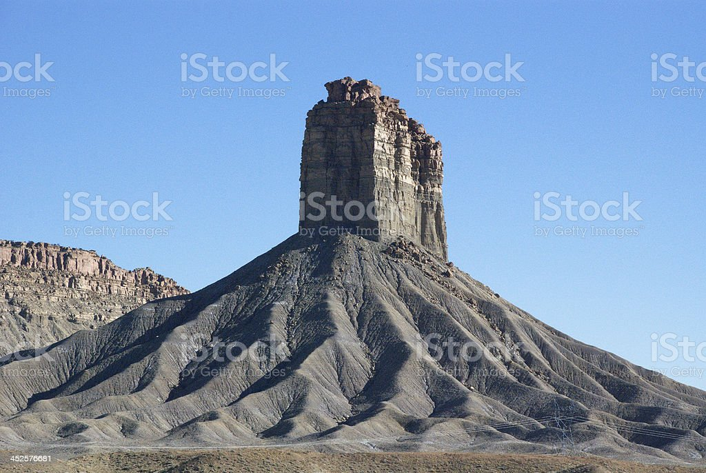Chimney Rock in color near Towaoc Colorado stock photo
