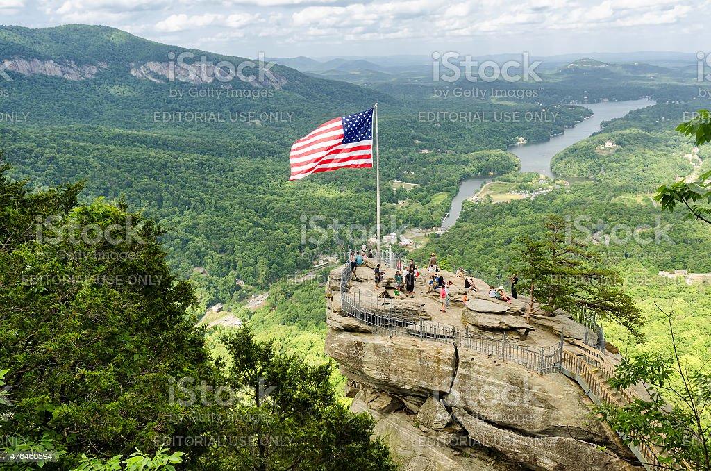 Chimney Rock mountain, State Park in North Carolina stock photo