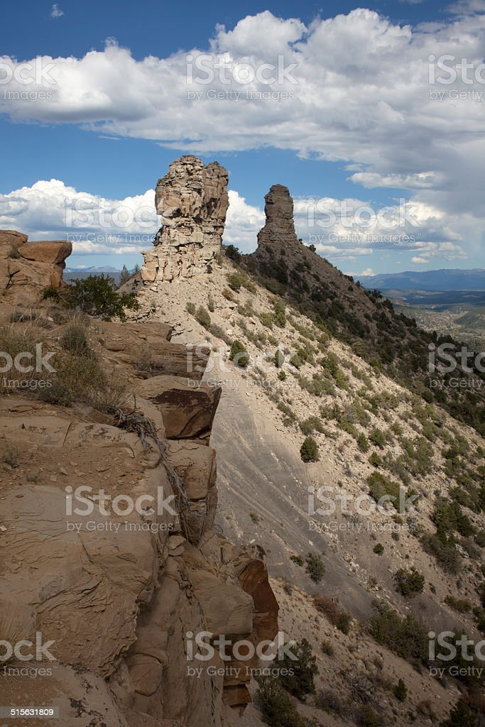 Chimney Rock National Monument Colorado stock photo