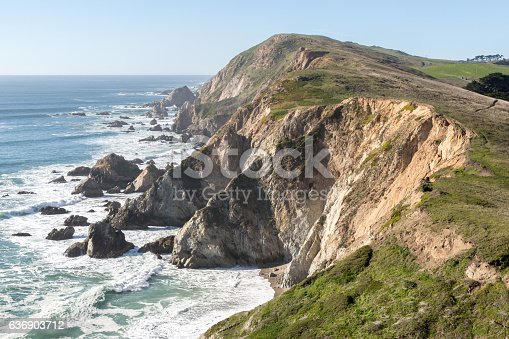 Chimney Rock is a prominent point that protects Drakes Bay in Point Reyes National Seashore.