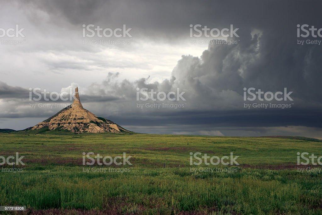 Chimney Rock Storm stock photo