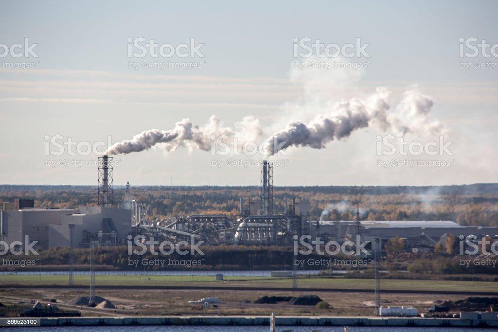 chimney smoke stock photo