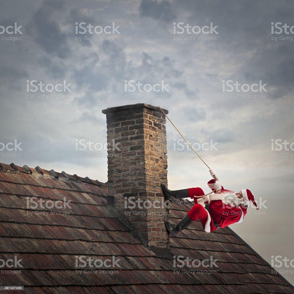 Chimney struggle stock photo