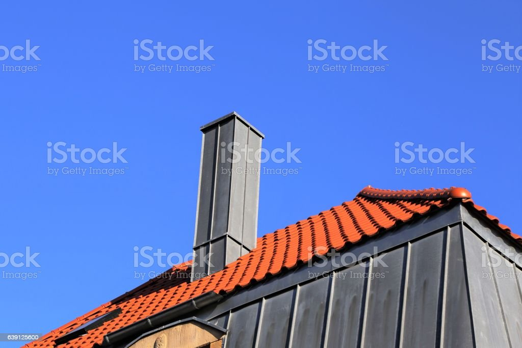 Chimney With Stainless Steel Cladding Stock Photo & More Pictures of Brick