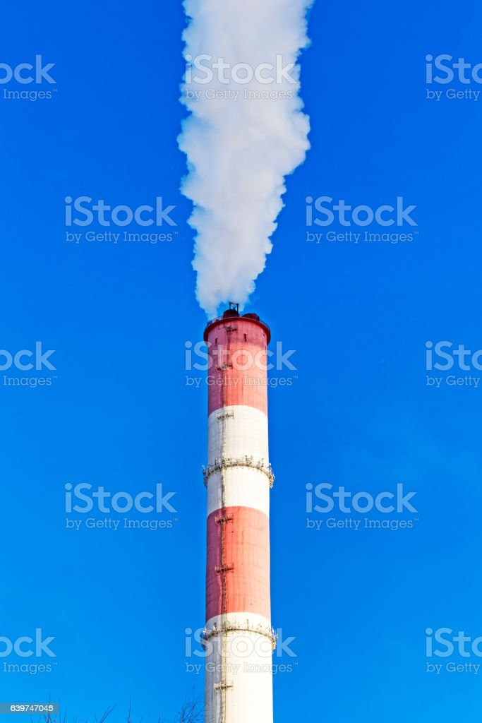 Chimney with steam production of a thermal power station stock photo