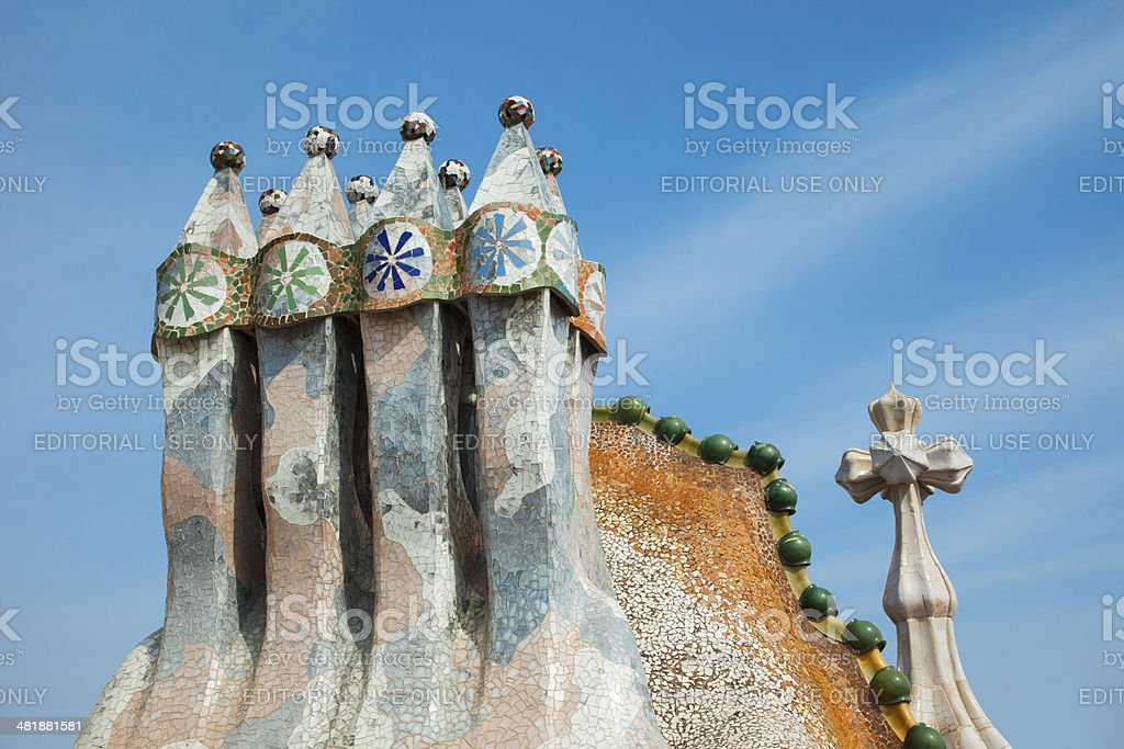 Chimneys detail from roof of La Pedrera or Casa Mila stock photo