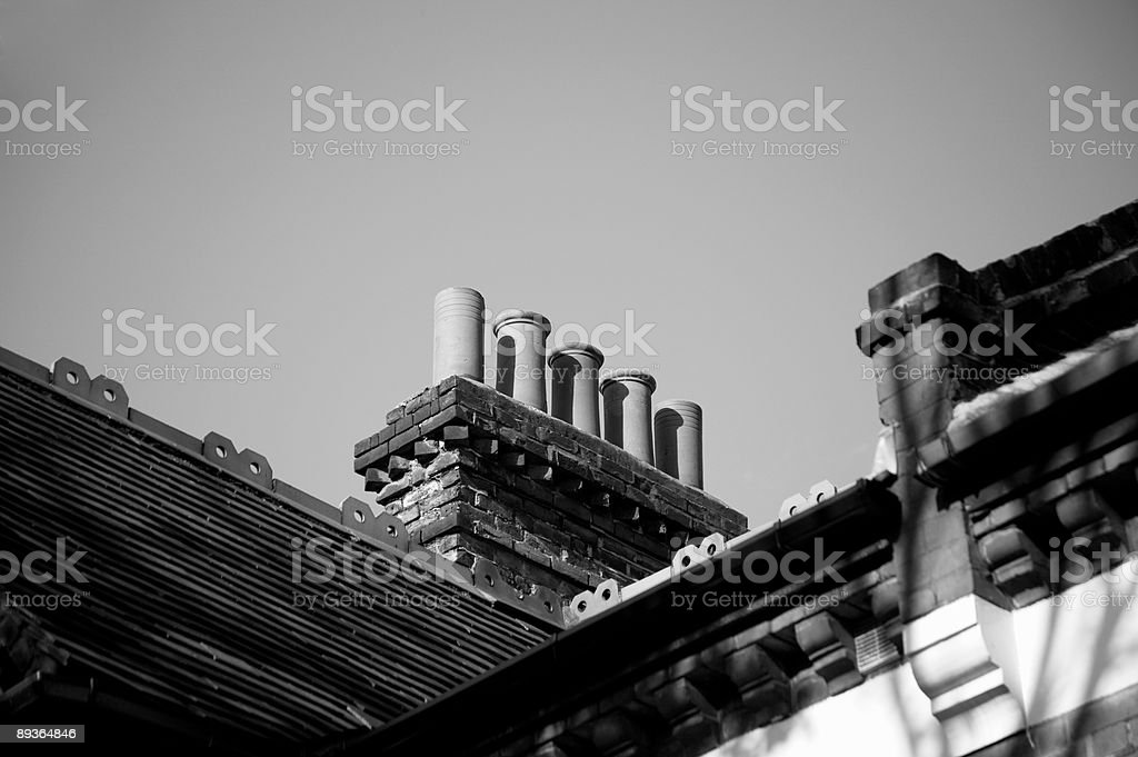Chimneys in black and white royalty-free stock photo