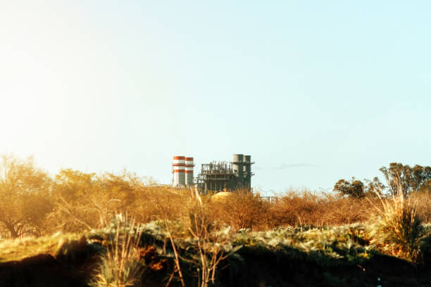 Chimneys of a petrochemical plant seen from an open field stock photo