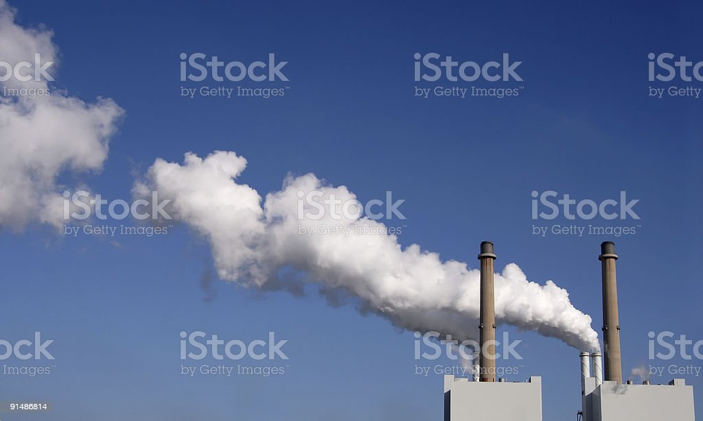 Chimneys with smoke royalty-free stock photo