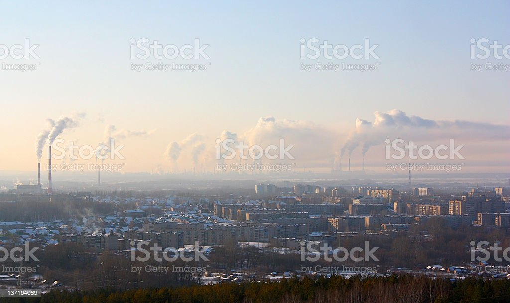 Chimney-stalks pollute atmosphere royalty-free stock photo