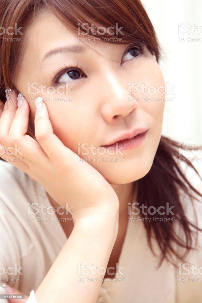 Chin on women royalty-free stock photo