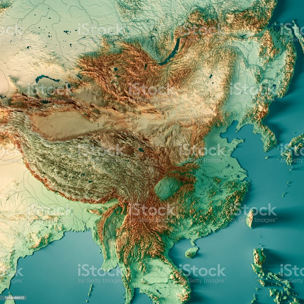 Topographic Map Asia.China 3d Render Topographic Map Color Stock Photo More Pictures Of