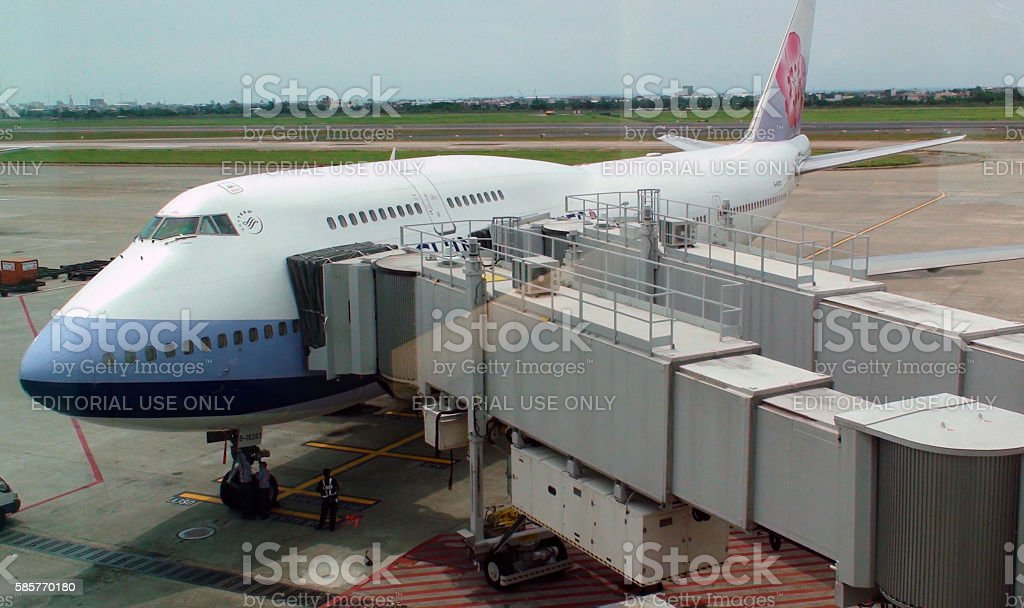 China Airline Double Deck Airplane Parked At Loading Gate.Taipei.Taiwan stock photo