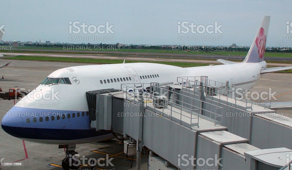 China Airline Double Deck Passenger Airplane Parked At Loading Gate.Taipei.Taiwan stock photo