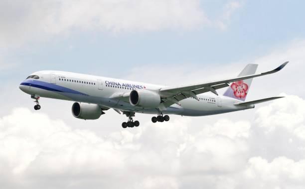 China Airlines Airbus A350 landing at Hong Kong international Airport - foto stock