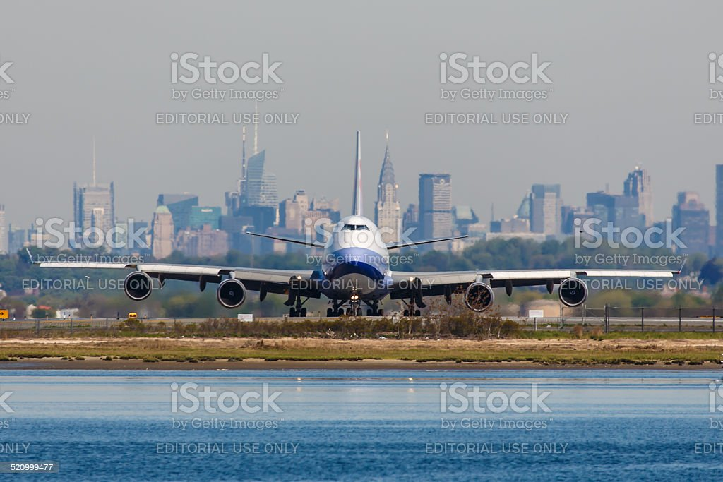 China Airlines Cargo Boeing 747 lines up at JFK Airport stock photo