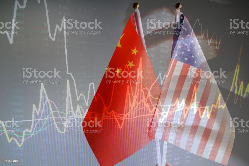 China amd USA flag with grey background studio shot stock photo