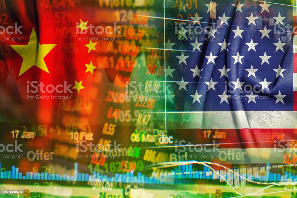 china and america cooperation concept background stock photo