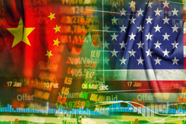 china and america cooperation concept background - cinese foto e immagini stock