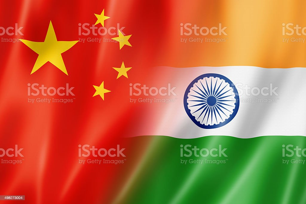 China and India flag stock photo