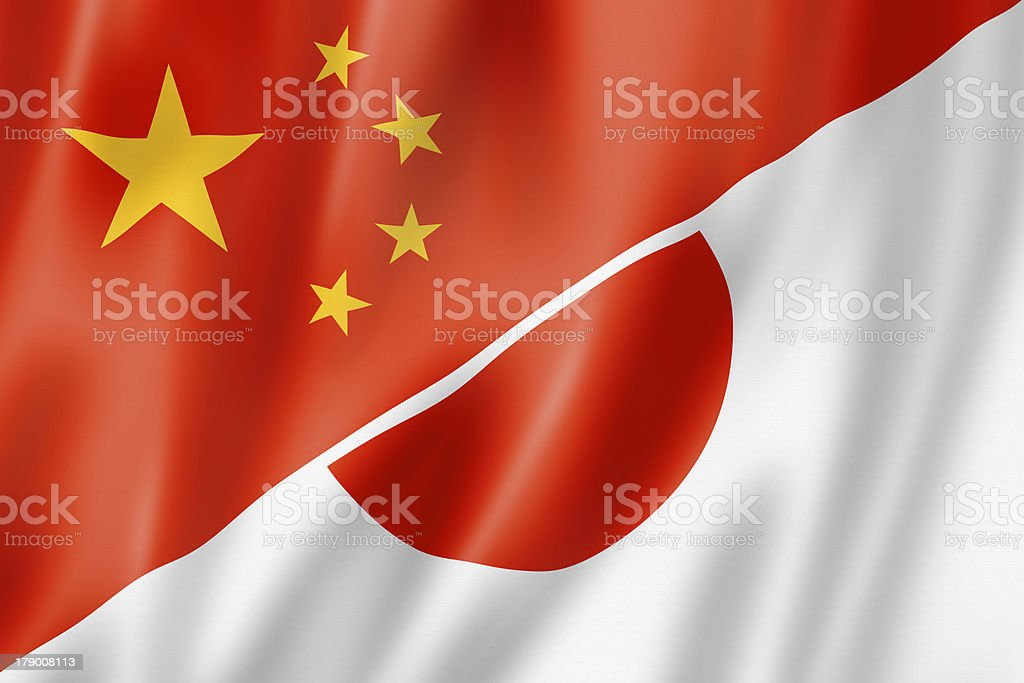 China and Japan flag royalty-free stock photo