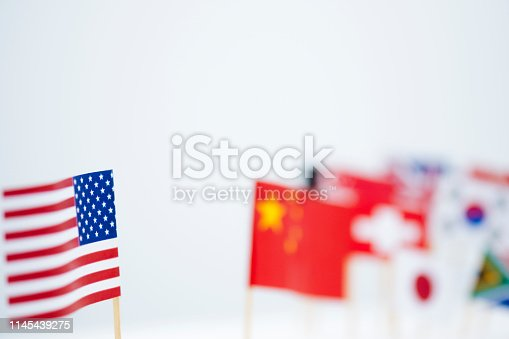 istock USA China and multi countries flags. It is symbol of America first policy and tariff trade war.-Image. 1145439275