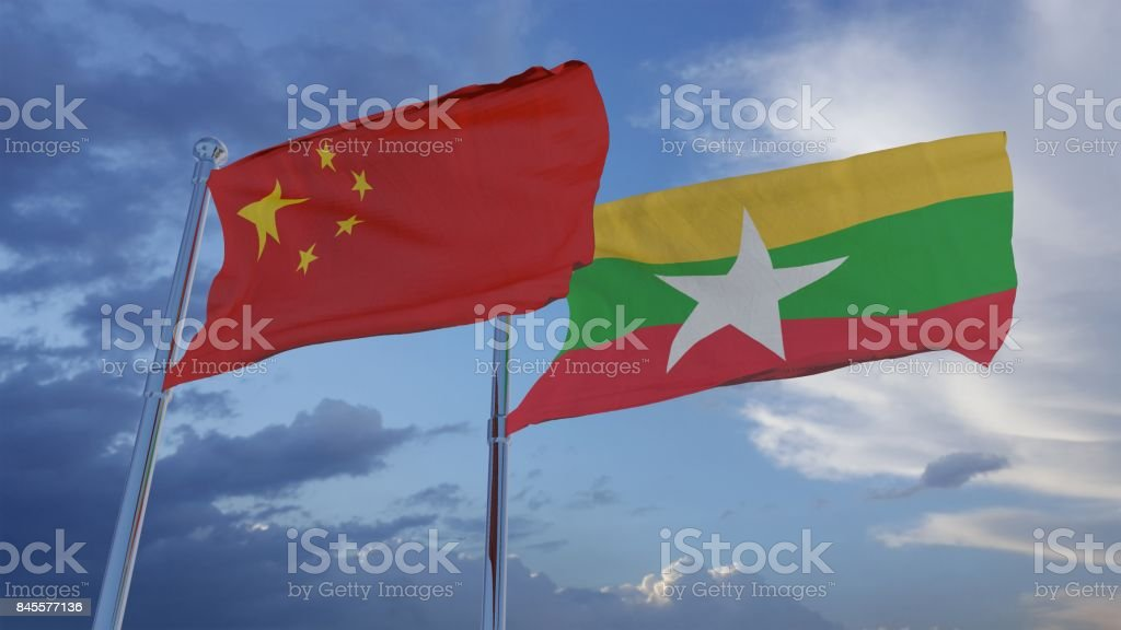 China and Myanmar Flags 3D Illustration 3D Illustration Flags of Myanmar and China Abstract Stock Photo
