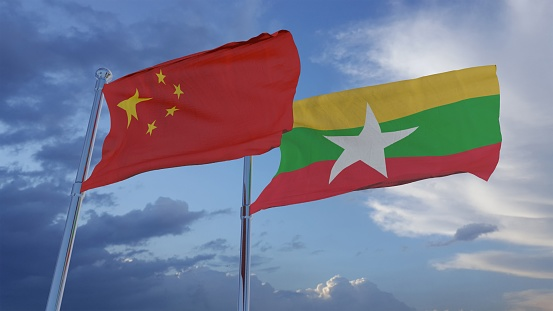 China And Myanmar Flags 3d Illustration Stock Photo - Download Image Now