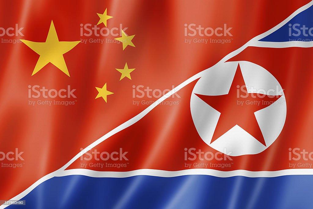 China and north korea flag royalty-free stock photo