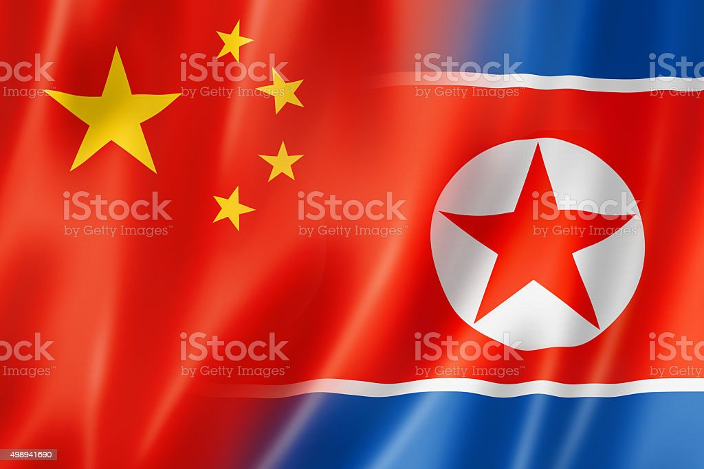 China and north korea flag stock photo