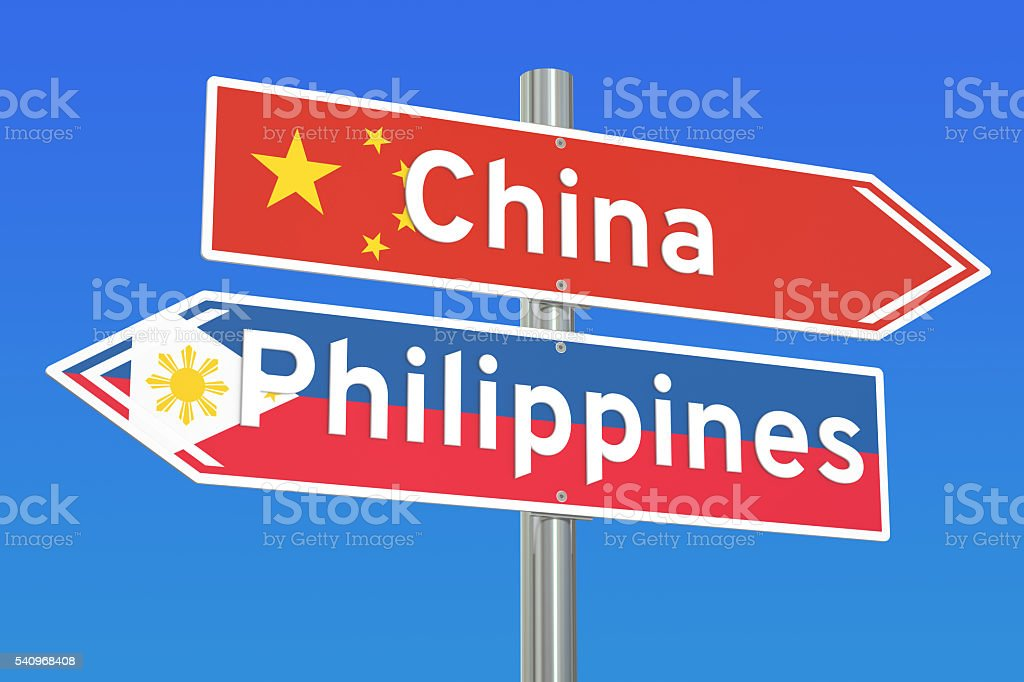China and Philippines conflict concept, 3D rendering stock photo