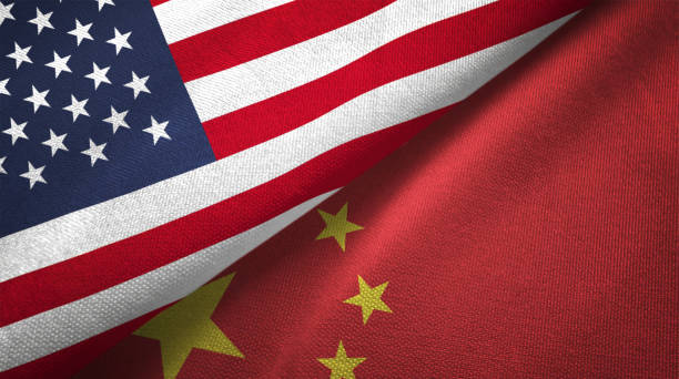 China and United States two flags together realations textile cloth fabric texture stock photo