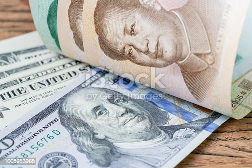 928696036 istock photo China and USA finance trade war or tariff battle metaphor, US dollar banknotes face up to Chinese Yuan banknotes, confront of world major commerce market countries 1005983968