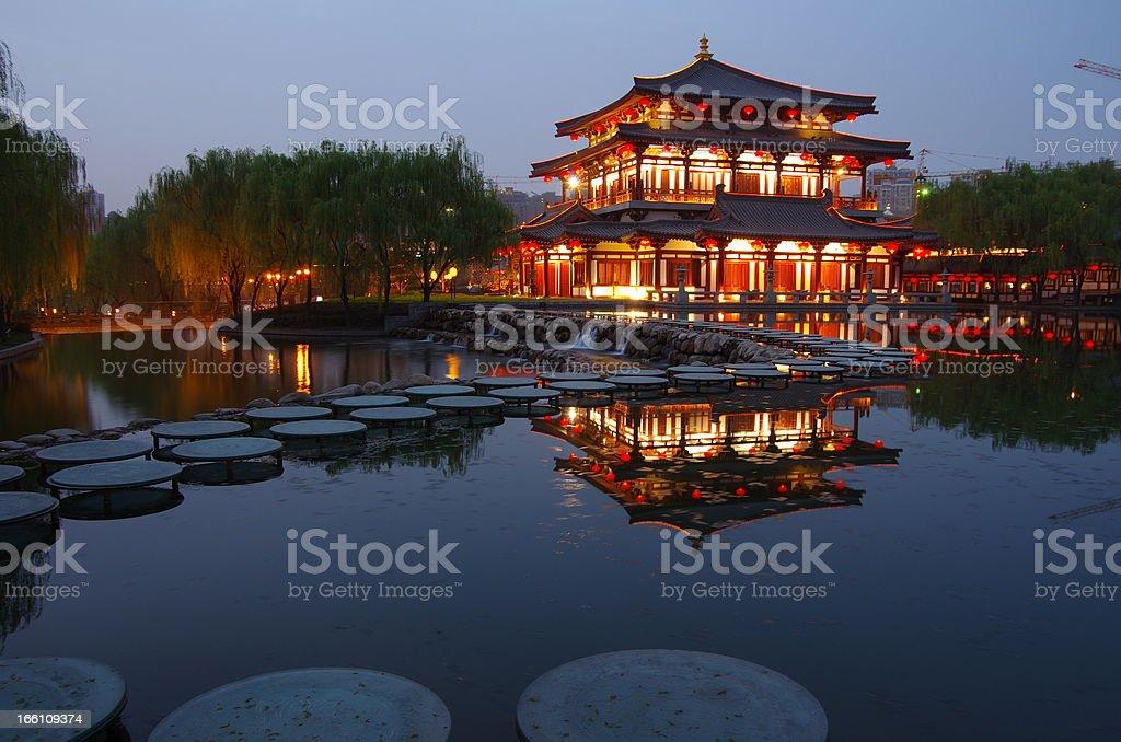 China architecture night royalty-free stock photo
