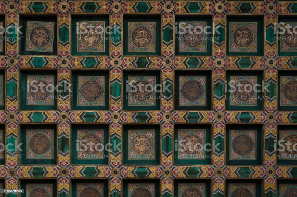 China Beijing Forbidden City Palace Chinese Golden dragon ceiling stock photo