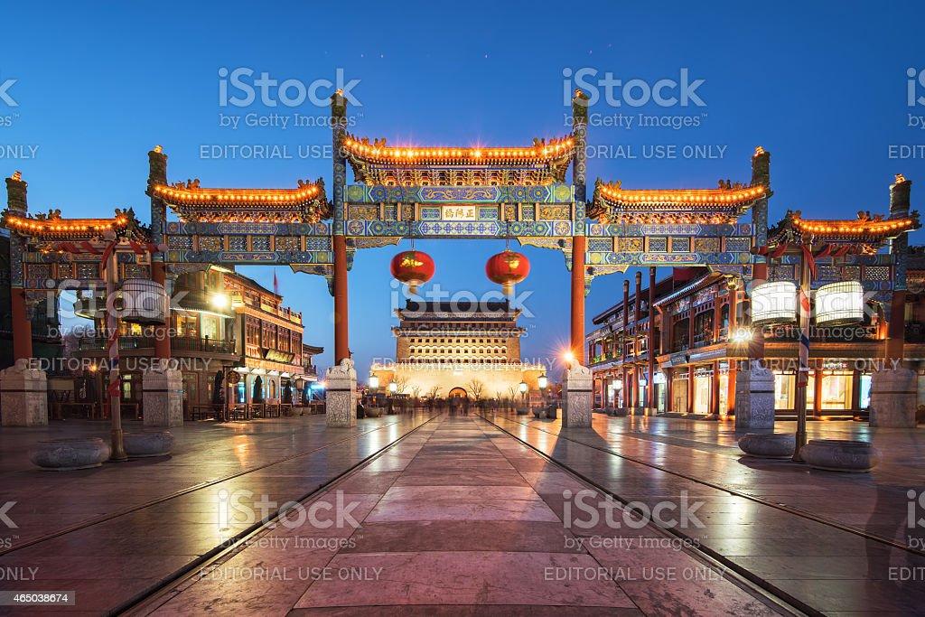 China Beijing Qianmen Night stock photo