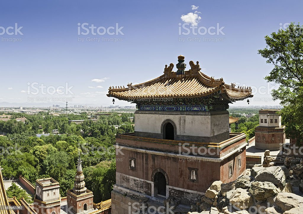China Beijing temples pagodas cityscape northern suburbs Summer Palace stock photo