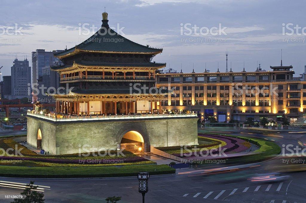 China Bell Tower Xi'an illuminated dusk stock photo