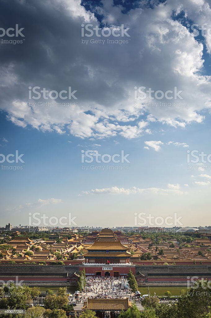 China big skies over crowds in Forbidden City palace Beijing stock photo