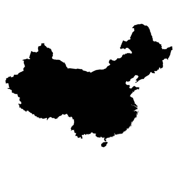 Chine, Silhouette noire carte contour Isolated on White Illustration 3D - Photo